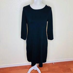 Talbots Black 3/4 Sleeve Ponte Sheath Dress